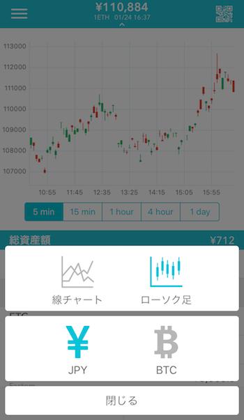 コインチェックアプリの選択画面
