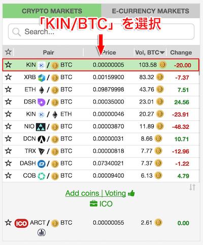 仮想通貨KIN(キン)を選択