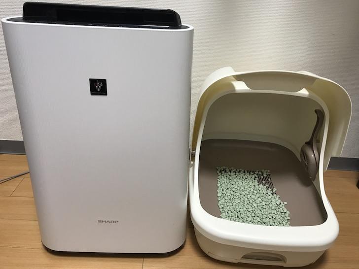 加湿空気清浄機と猫のトイレ