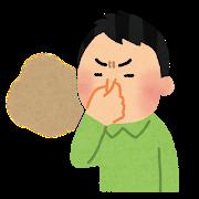 猫のトイレ臭をキツくて鼻をつまんでいる男性